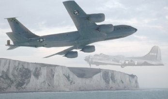 Ghost - KC135 and B117 Ghost meet over the white cliffs of Dover - 2001 Graphic Illustration
