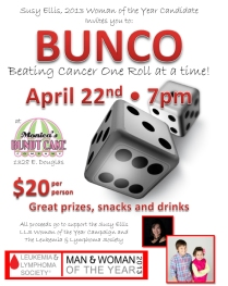 2013 Bunco Flyer for Susy Ellis - LLS Woman of the Year Candidate