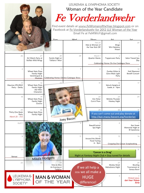 2012 Calendar of Events for Fe Vorderlandwehr Woman of the Year Candidate