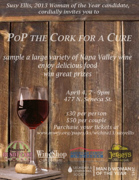 2013 Pop the Cork for a Cure Flyer for Susy Ellis - LLS Woman of the Year Candidate