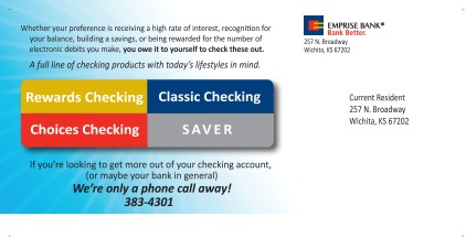 2011 Emrise Bank Postcard - side 1