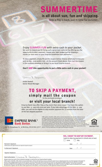 2011 Emprise Bank Summer Skip-A-Pay Letter