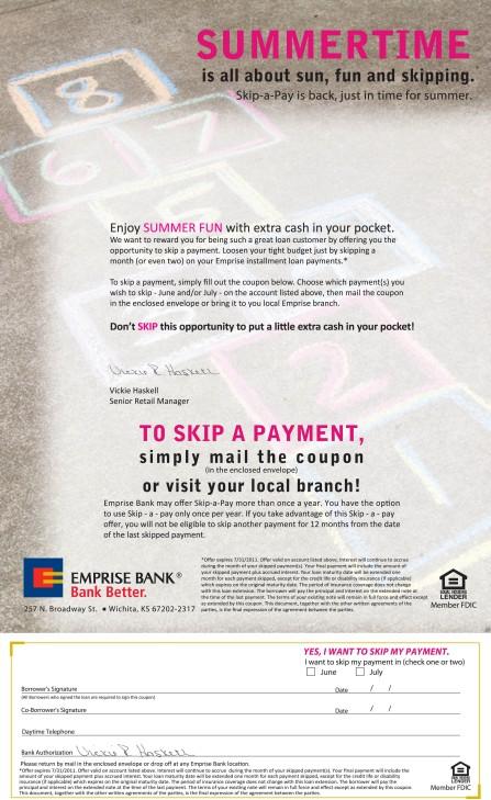 2011 Emprise Bank Summer Skip-A-Pay Letter