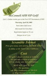 2005 McConnell AFB VIP Golf Tournament Invitaion - Inside