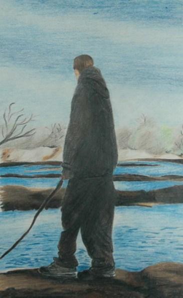 Alone 2 - 2005 Oil Pastel and Colored Pencil