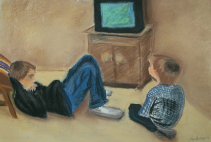 Saturday Morning Cartoons - 2002 Colored Pencil and Oil Pastel