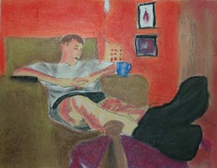 Resting - 2004 Charcoal and Oil Pastels