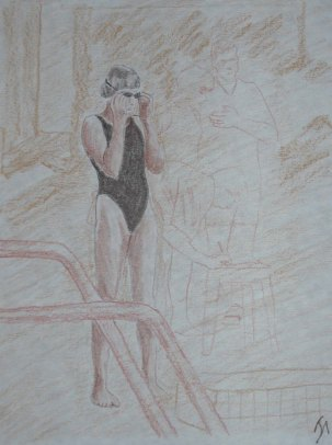 The Swimmer - 2002 Colored Pencil