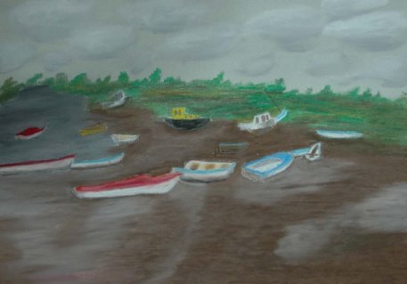 Wells-next-the-sea, North Sea, England - 2003 Oil Pastel