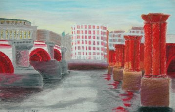 Bridges on the Thames, England - 2004 Oil Pastel