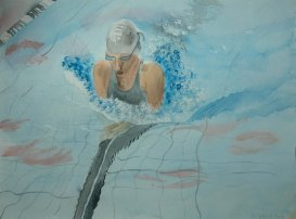 The Swimmer - 2005 Watercolor