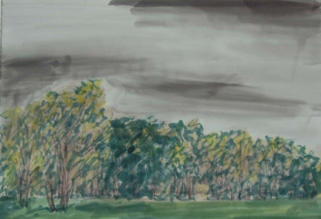 Approaching Storm - 2008 Pen and Watercolor