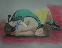 Wrestling 2 - 2004 Oil Pastels on Velum