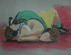Wrestling 2 - 2004 Oil Pastels on Velum
