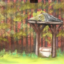 Well at the White House on Shull Run9 x 12 soft chalk pastel on Carson pastel paper 2016