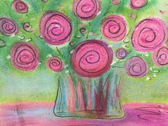 Roses 8.5 x 11 pastel on printer paper, June 2016