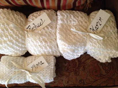Shawls for each of the Brides Maids 7 and The Bride - you never know what the temperature will be in March in Kansas. Thank you mom for helping me get these done!
