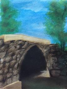 Arch bridge Udall Kansas 9 x 12 soft chalk pastel, 2-15
