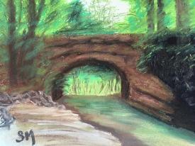 Bridge over Shull Run 9 x 12 soft chalk pastel, July 4, 2015