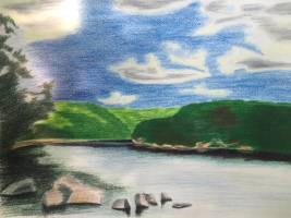 Allegheny River, near Shull Run9 x 12 Derwent Pencils on Strathmore Drawing Paper, June 2016