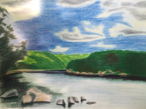 Allegheny River, near Shull Run 9 x 12 Derwent Pencils on Strathmore Drawing Paper