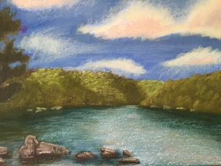 The Allegheny River at the Rockland Tunnel bend 7x 10 soft chalk pastel, June 2016