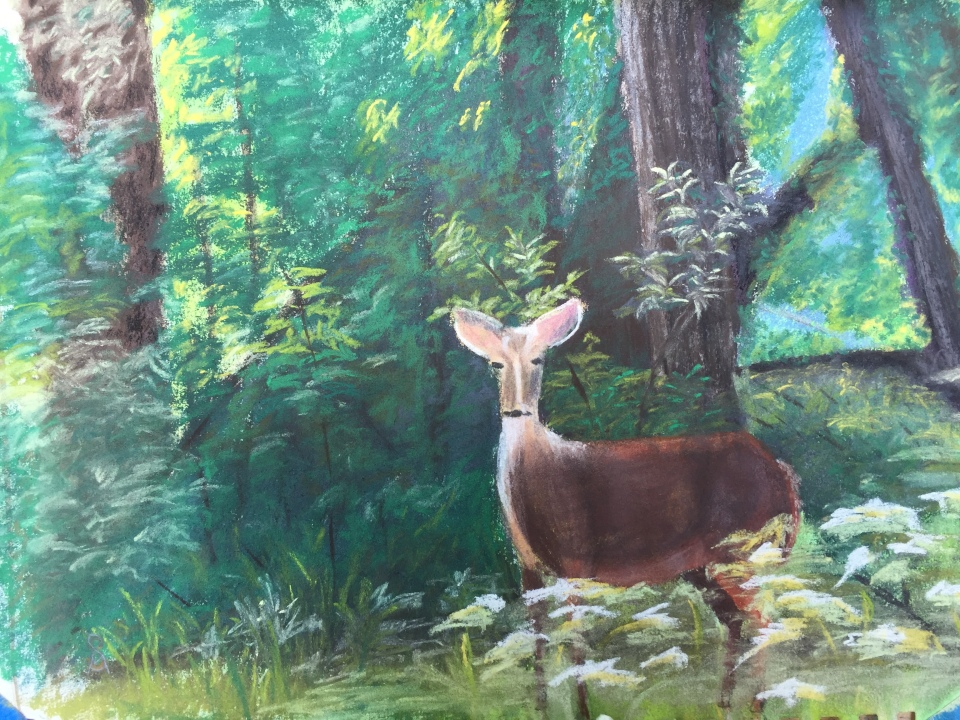 First painting, too much focus on background foliage