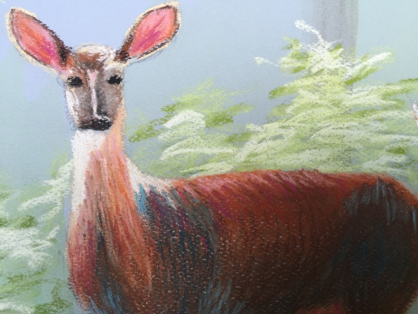 Third painting, all focus on deer, very little attention paid to the foliage