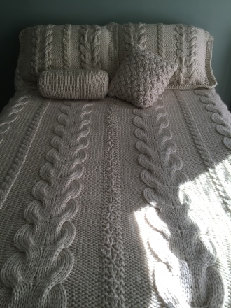 bedspread with pillow shams and decorative pillows