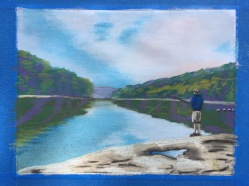 Gone Fishing 8.5 x 11 pastel painting on photo copy paper, June 2016