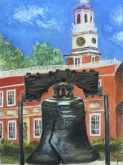 Liberty Bell with Independence Hall behind, 9 x 12 pastel painting on Strathmore pastel paper, June 2016