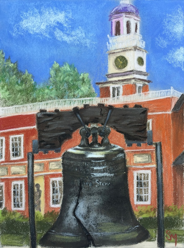 Liberty Bell with Independence Hall behind, 9 x 12 pastel painting on Strathmore pastel paper