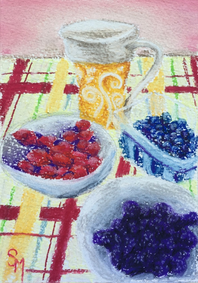 Breakfast, 5 x 7 pastel painting on carson watercolor paper