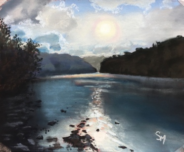 Sunset over the Allegheny, 8x10, August 2016
