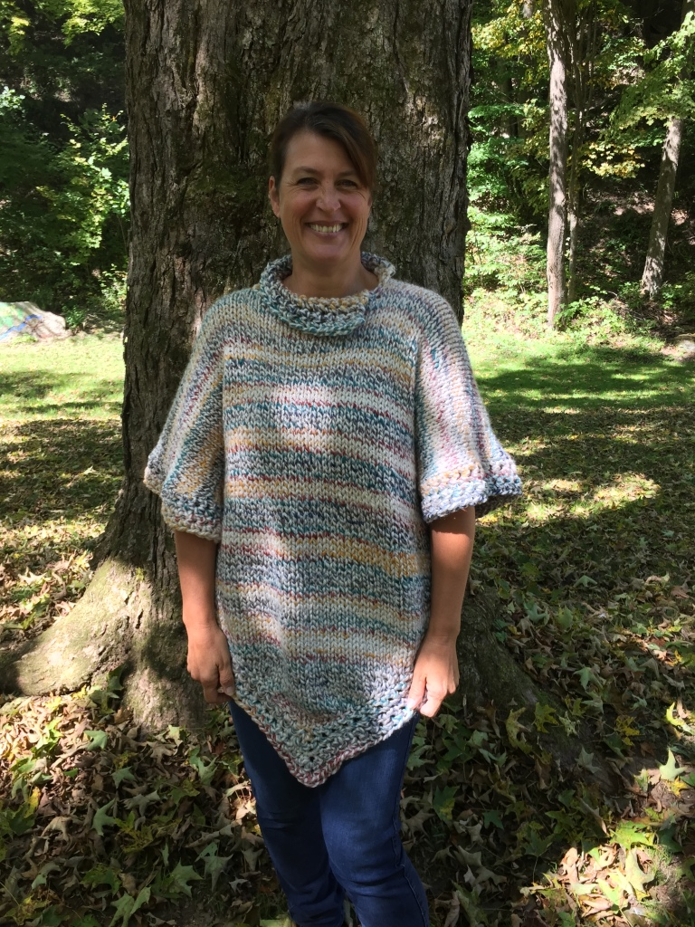 This poncho knit up very quickly with Wool-Ease Thick and Quick yarn. Leave a comment if you would like the pattern notes I took when making this piece.