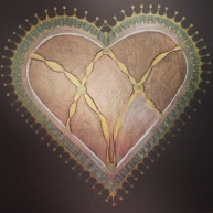 Gold Heart, 5 x 5, colored pencil, November 2017