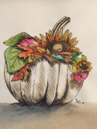 Pretty Punkin, 9 x 9, watercolor and pen painting, November 2017