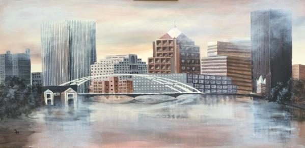 Rochester NY sky line, 36x60, acrylic painting, October 2016