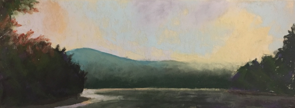 Allegheny River Valley at Sunrise, 12 x 6, pastel painting, October 2017