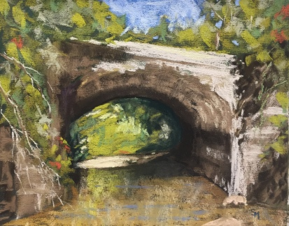 Shull Run Underpass, 5 x 7, pastel painting, October 2017