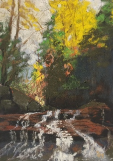 Freedom Falls, 5 x 7, pastel painting, October 2017