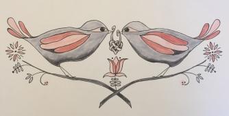 Love Birds, 10 x 4, Markers, October 2017