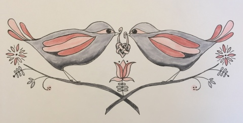 Love Birds, 10 x 4, Markers, October 2017