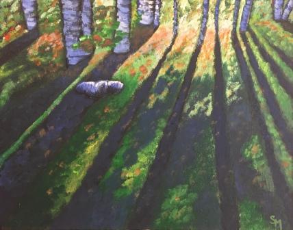 Sunday Morning, 14 x 11, acrylic paint, October 2017