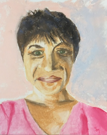 Stella - self portrait, 9 x 12, pastel painting, October 2017