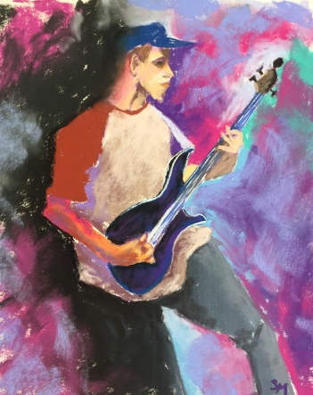 The Bass Player, 8 x 10, pastel painting, October 2017