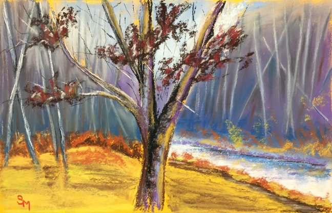 Maple in November 2, 12 x 18 chalk pastel