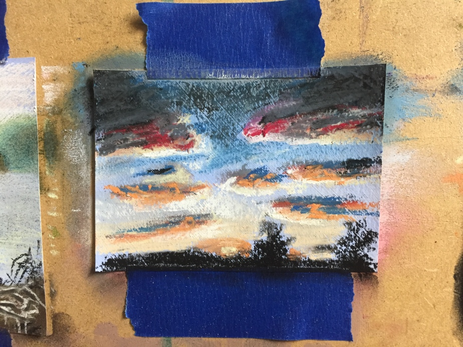 Close up of sunset mini painting