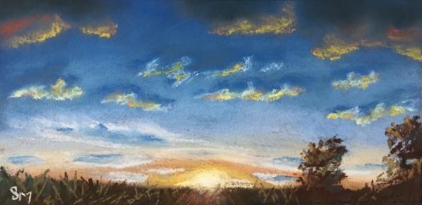 A Kansas Sunset 2.5 x 3.5 Pastel, November 2016