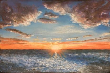 Glorious Sunset, 12 x 18 pastel, January 2017